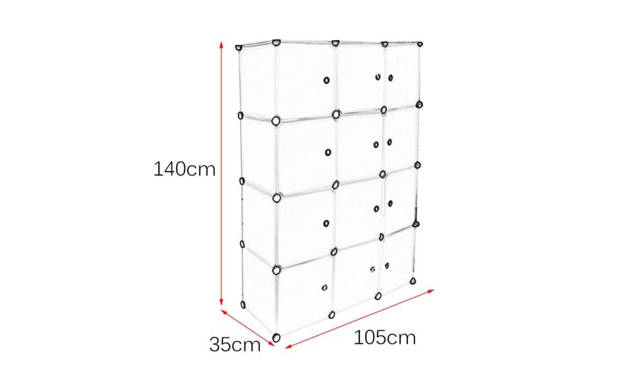 12 grilles armoires resine avec portes meuble de rangement etageres extra large diy pour vetements chambre blanc achat vente armoire pas cher couleur et design fr