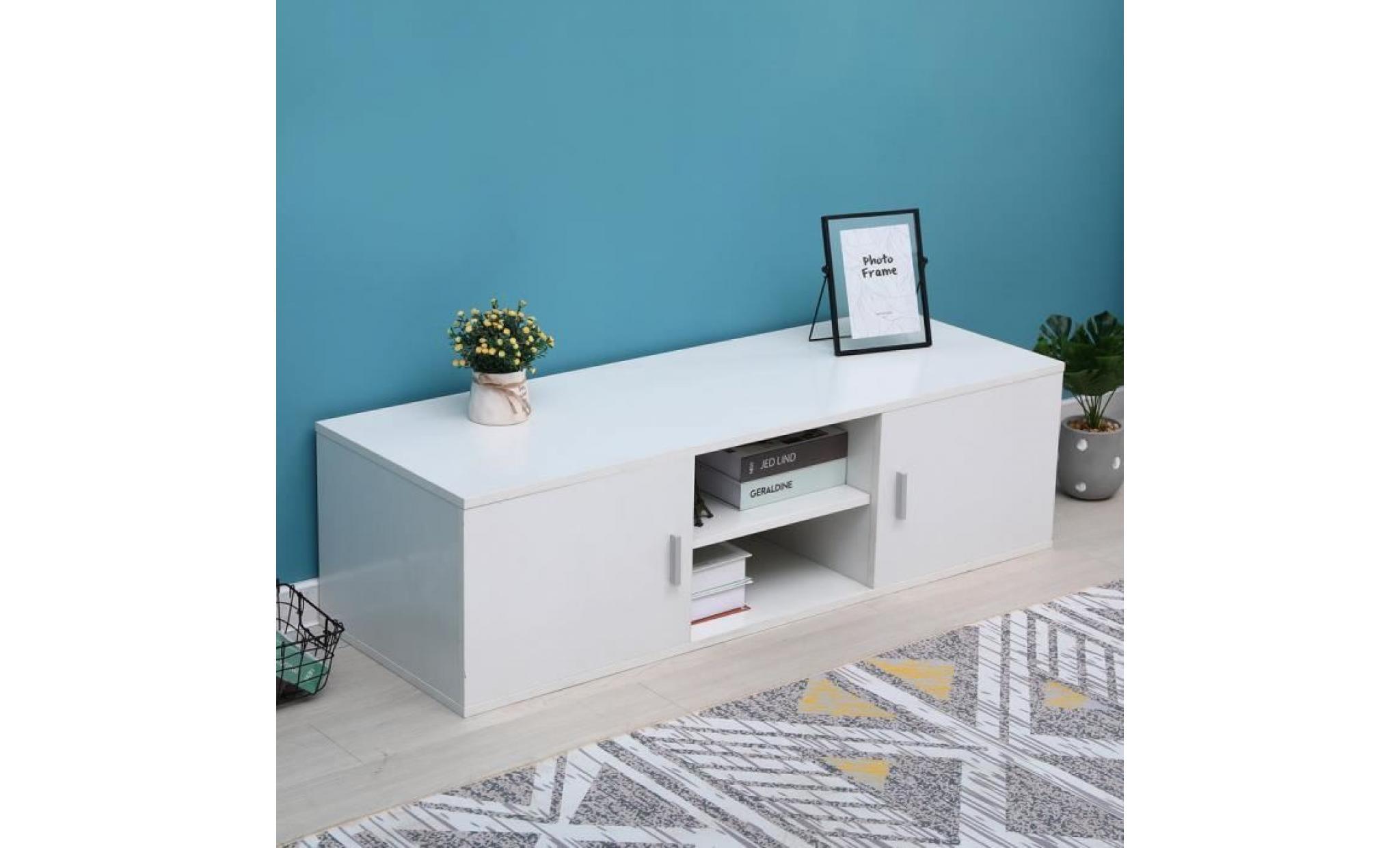 blanc meuble tv mdf 115 40 34cm scandinave meuble hifi home cinema meuble achat vente meuble tv pas cher couleur et design fr