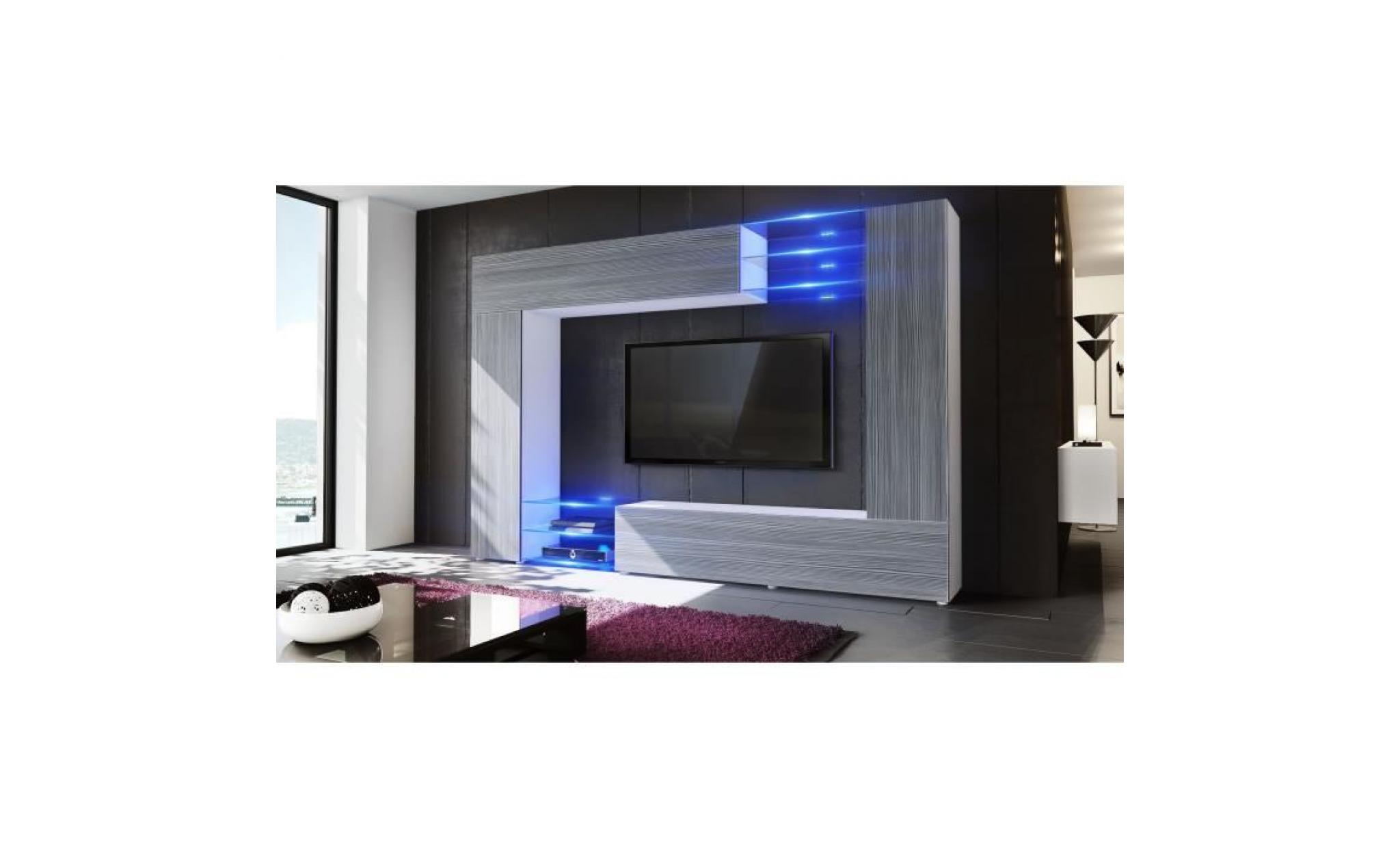 combinaison murale mirage corps en blanc mat facades en gris haute brillance avec l eclairage led achat vente meuble tv pas cher couleur et design fr