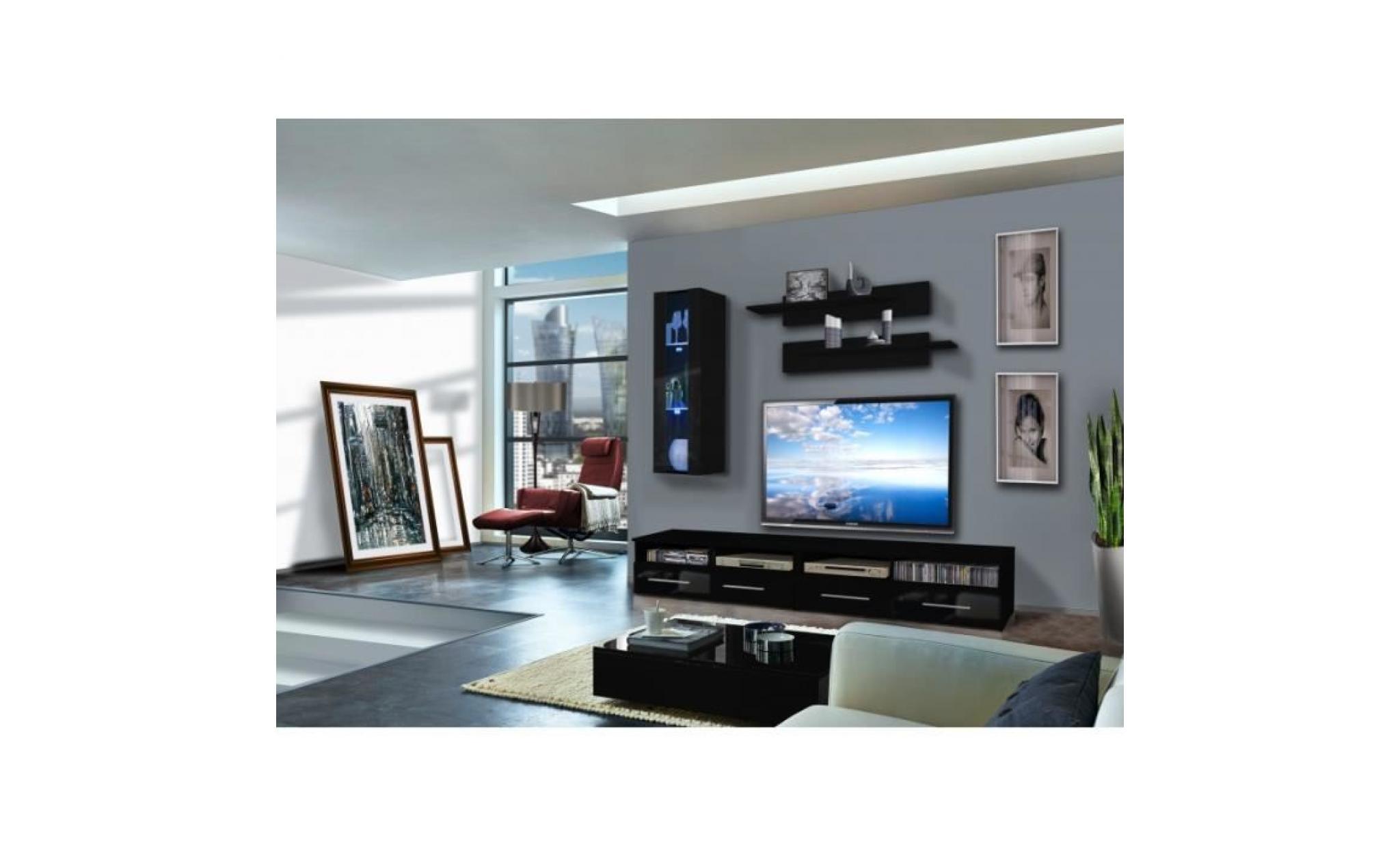 ensemble meuble tv mural 1 vitrine led clevo vi l 120 cm noir et blanc 45 cm achat vente meuble tv pas cher couleur et design fr