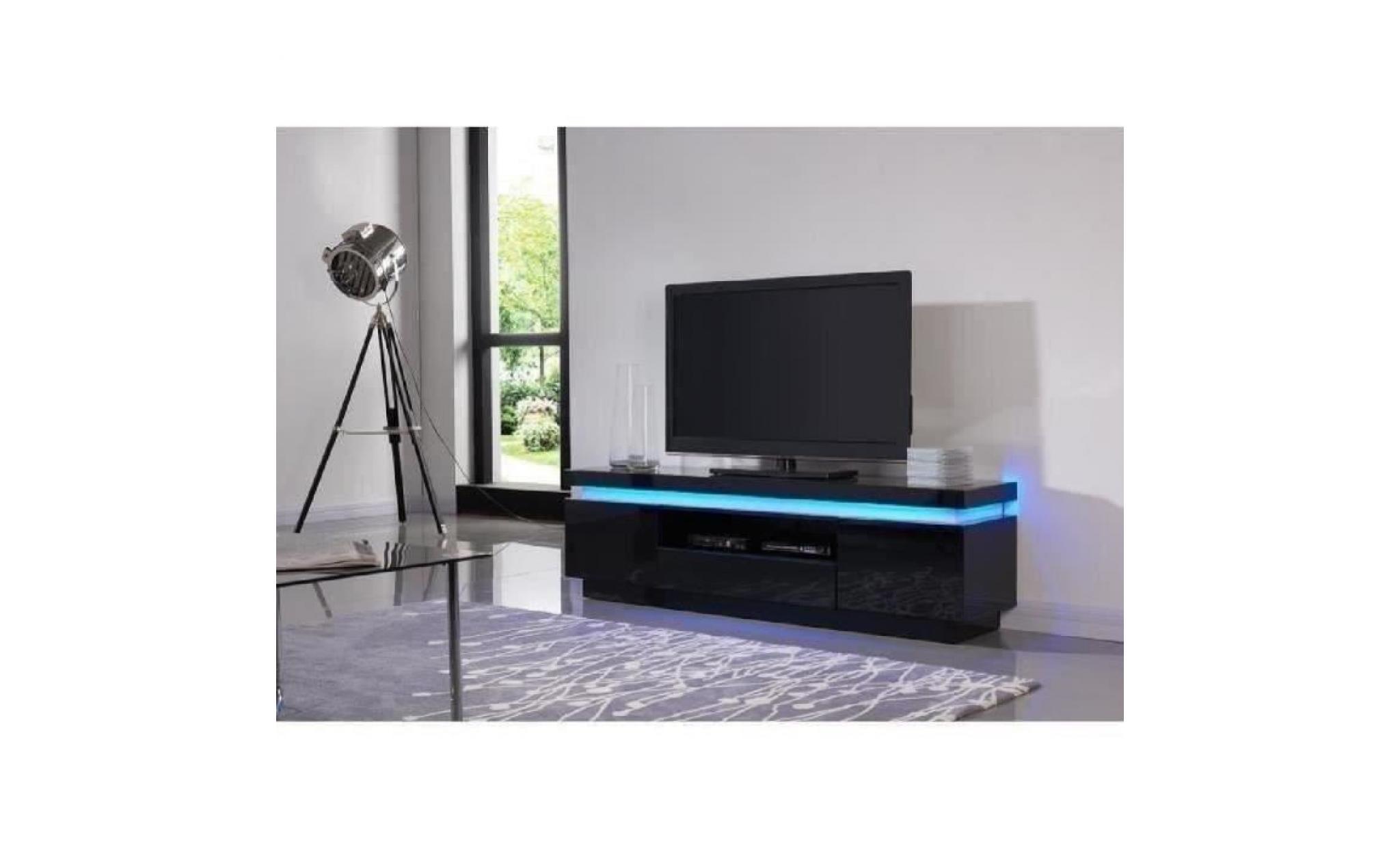 flash meuble tv avec led contemporain noir laque brillant l 165 cm achat vente meuble tv pas cher couleur et design fr
