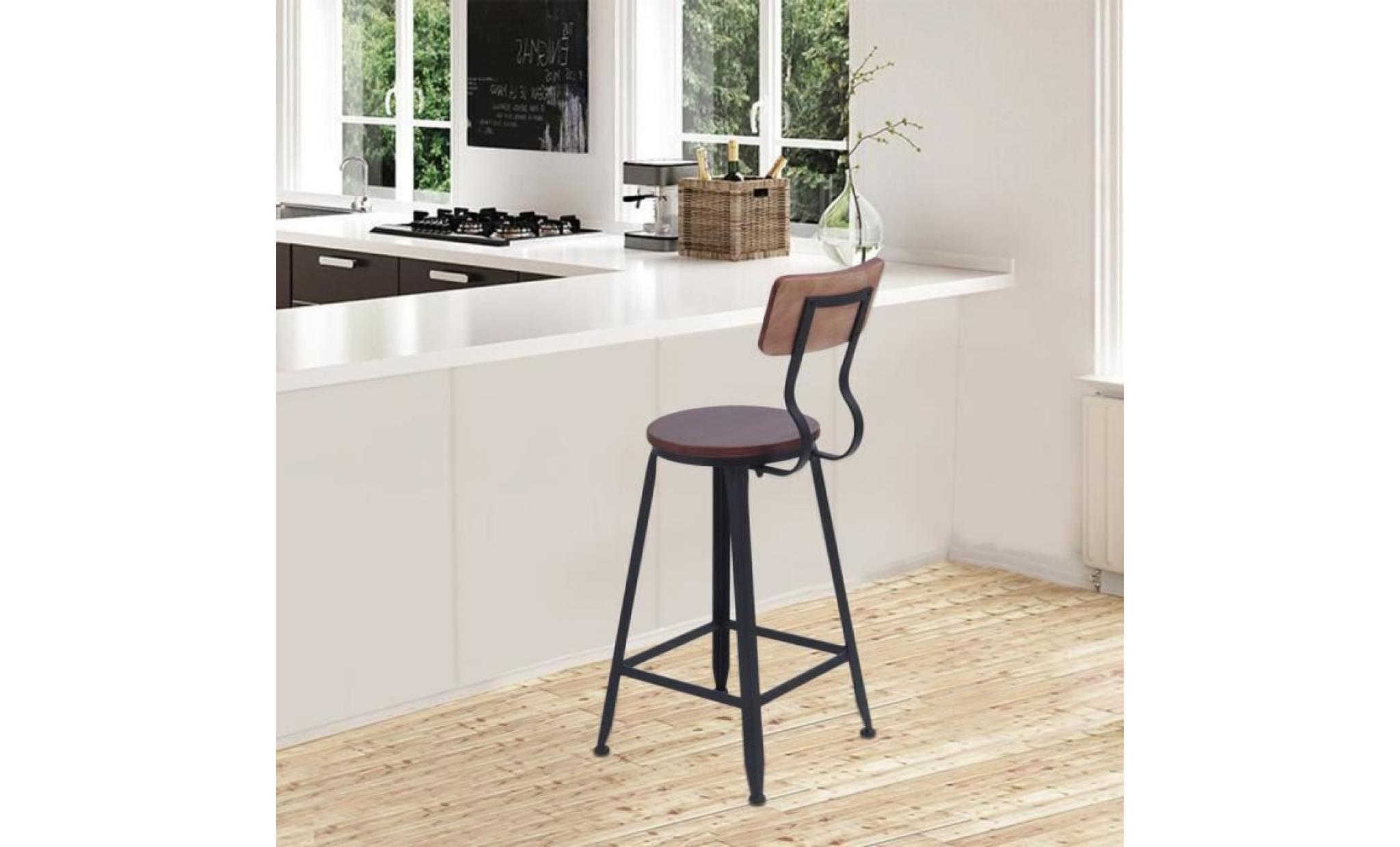haut tabouret de bar avec dossier bois et fer vintage 4 pieds chaise de bar salle a manger achat vente tabouret pas cher couleur et design fr