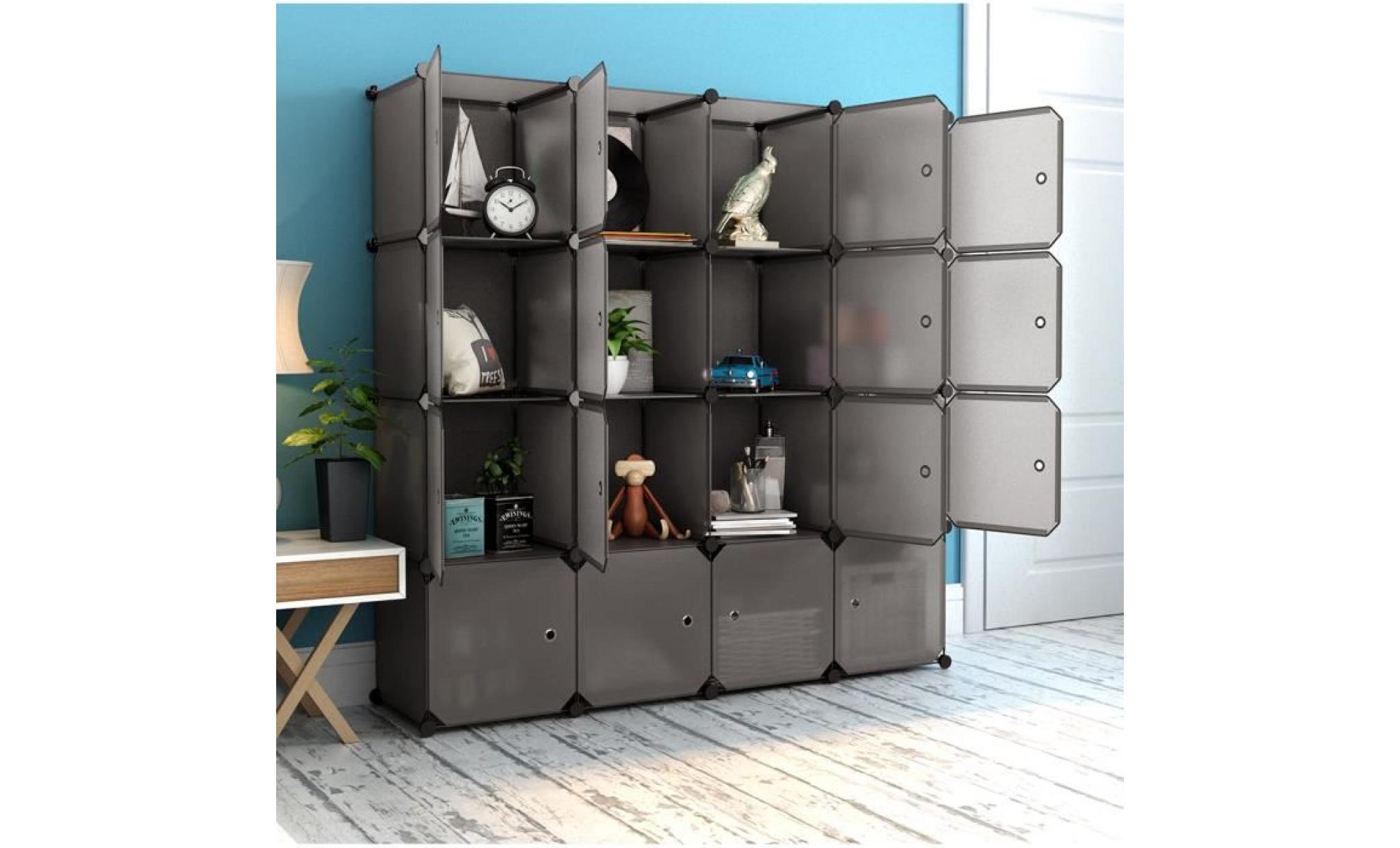 langria armoire penderie 16 cubes avec portes etagere modulable meuble rangement chambre pour vetements chaussures jouets marron achat vente armoire pas cher couleur et design fr
