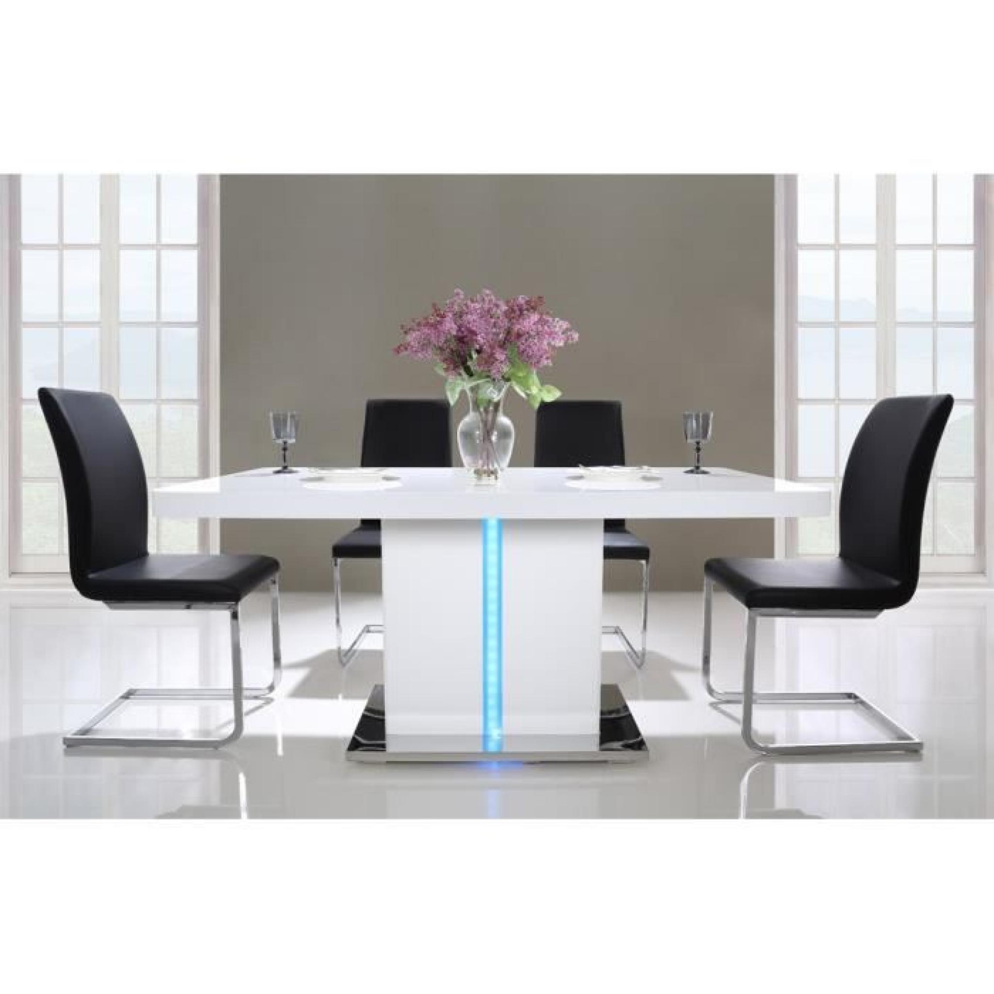 LASER Table Manger 160cm Laqu Blanc Brillant Avec LED