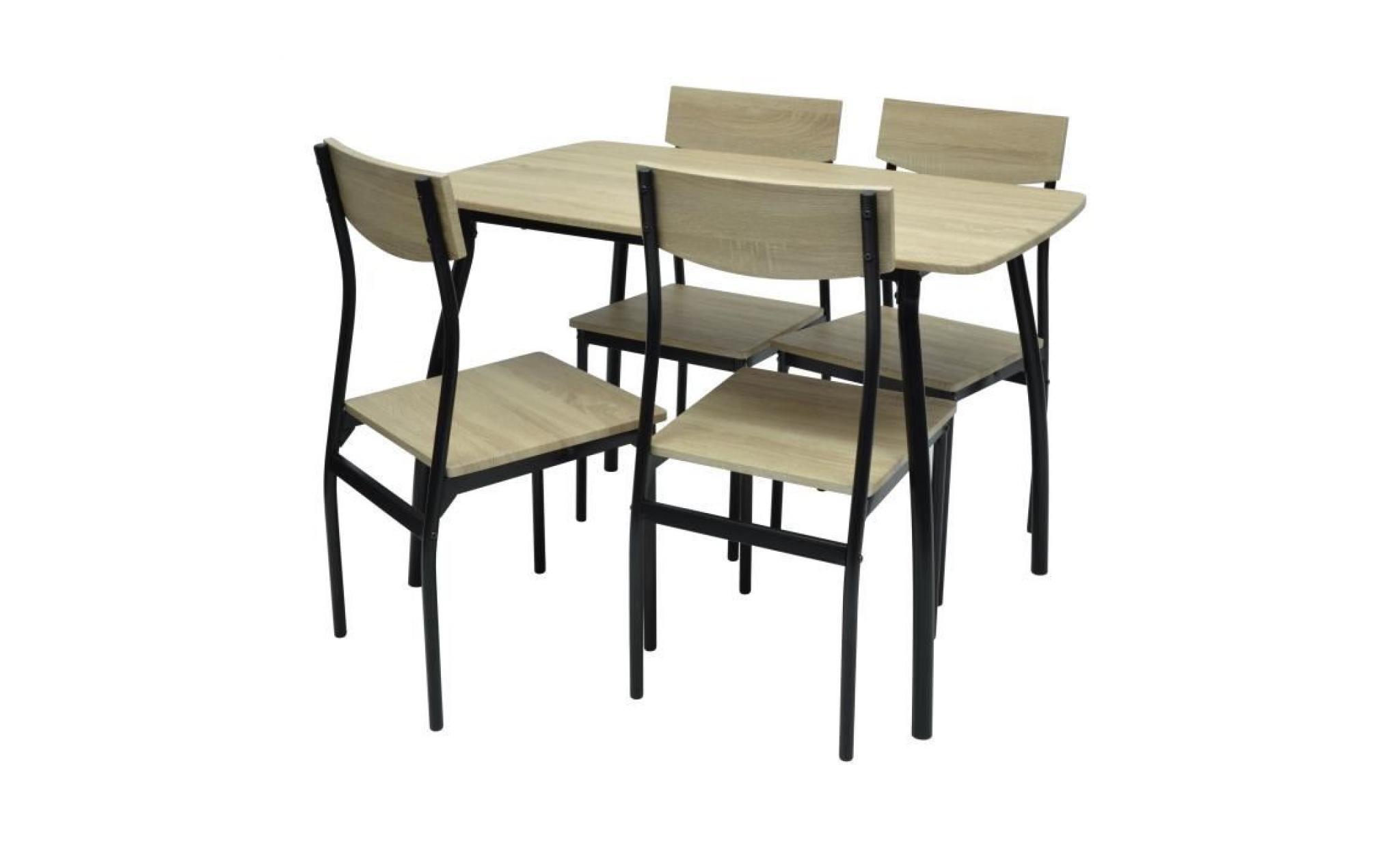 meloka ensemble table a manger de 4 a 6 personnes 4 chaises style contemporain marron naturel laque l 110 x l 70 cm achat vente table salle a manger pas cher couleur et design fr