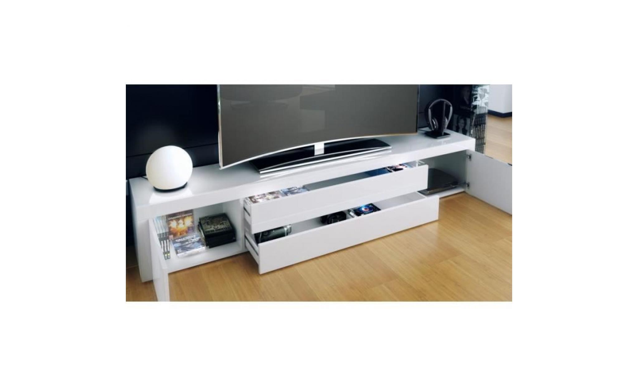 meuble bas pour tv blanc laque achat vente meuble tv pas cher couleur et design fr