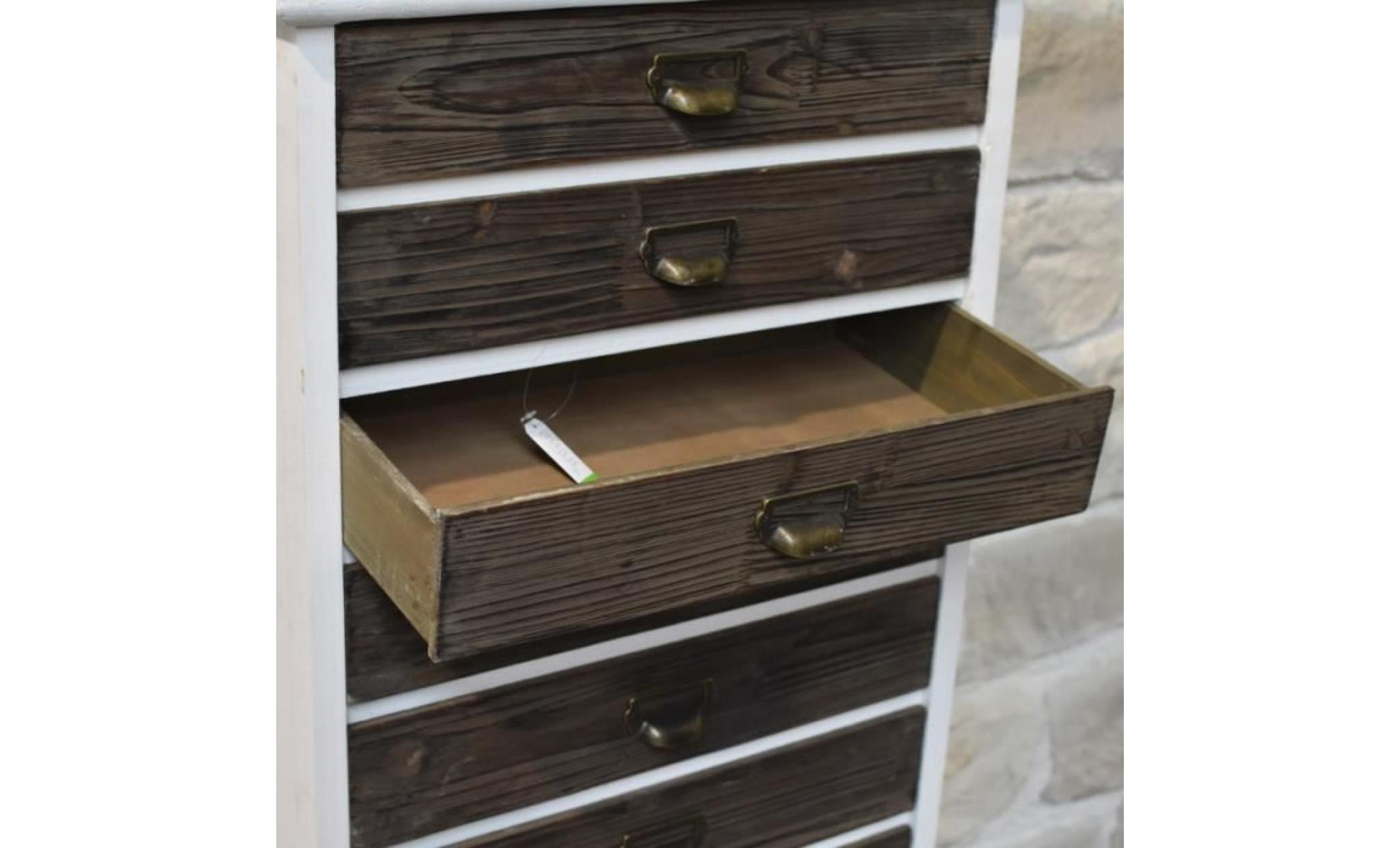 meuble colonne haut semainier chiffonnier a tiroirs 128 cm achat vente commode pas cher couleur et design fr