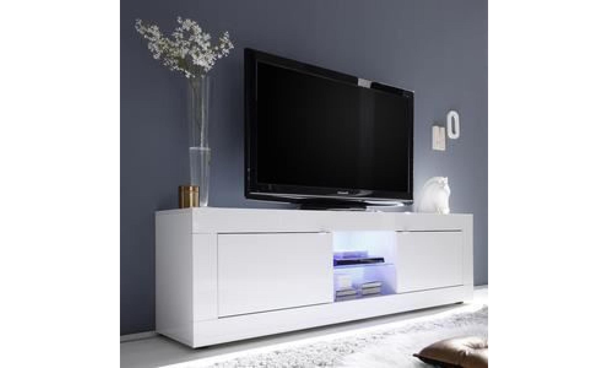 Meuble Tv 180 Cm Blanc Laque Design Focia 2 Sans Eclairage Blanc Achat Vente Meuble Tv Pas Cher Couleur Et Design Fr
