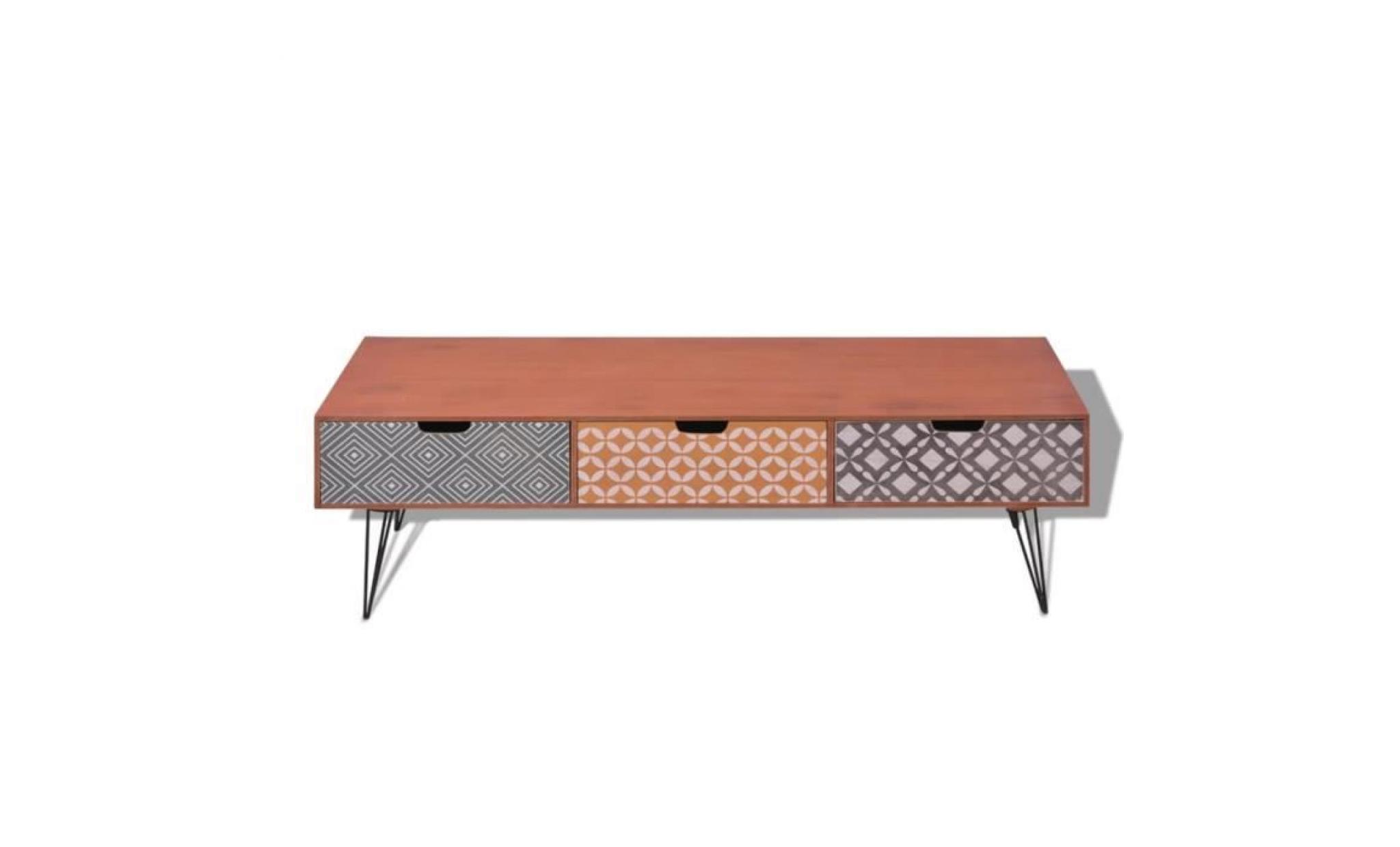 meubles tv festnight meuble tv avec 3 tiroirs table basse en bois scandinave design marron cuisine maison groupisd com