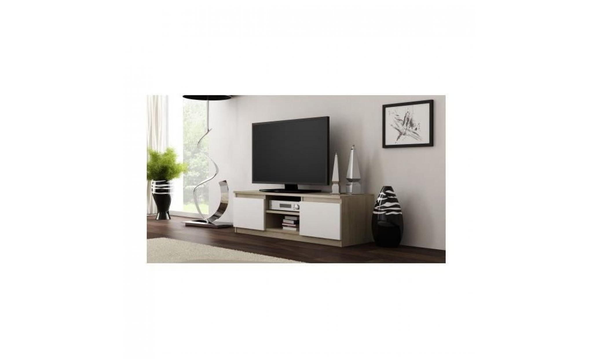 meuble tv moderne pour salon 120 cm 40 sonoma blanc achat vente meuble tv pas cher couleur et design fr