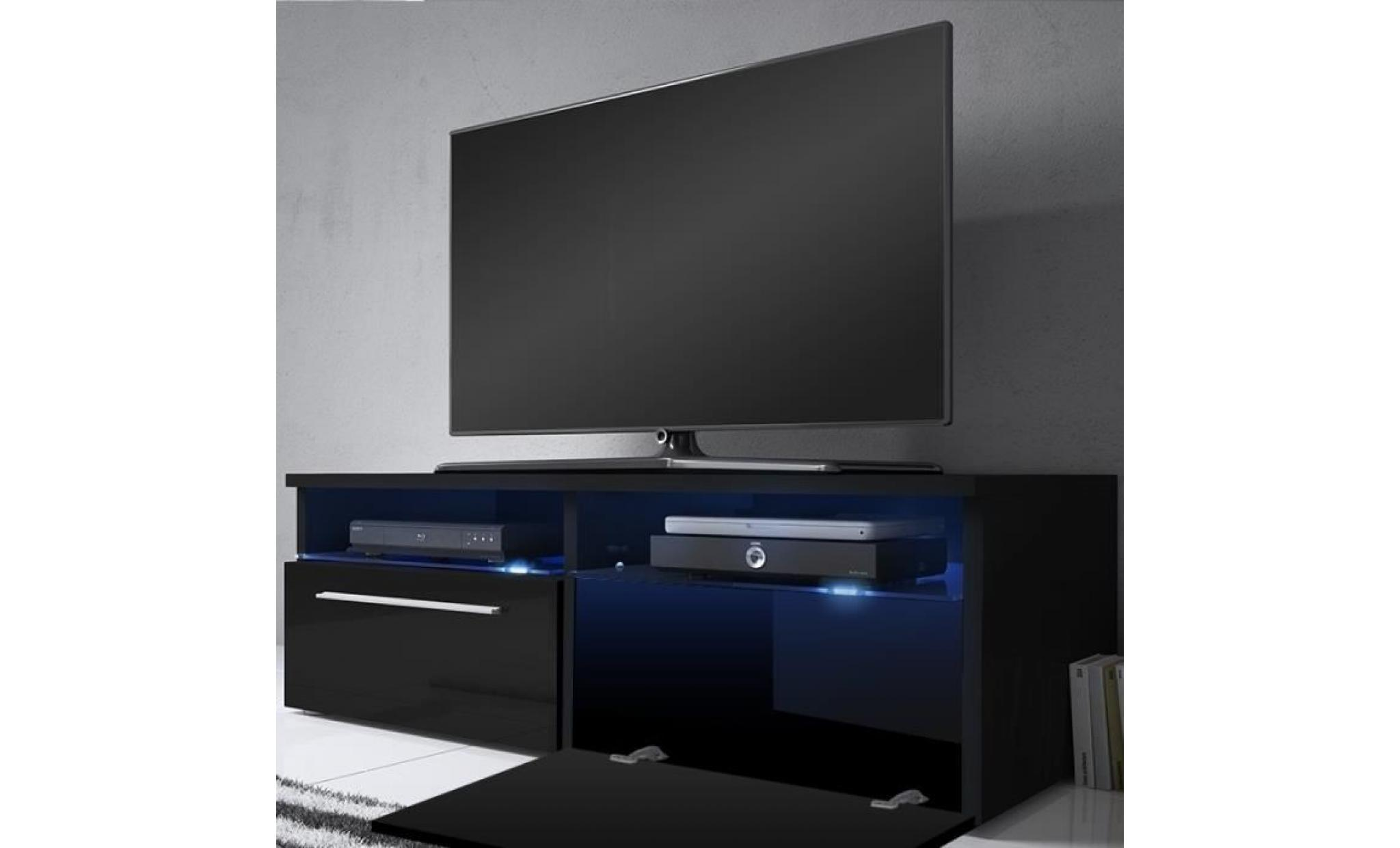 meuble tv meuble salon siena 100 cm noir mat noir brillant avec led bleue style moderne style classique achat vente meuble tv pas cher couleur et design fr