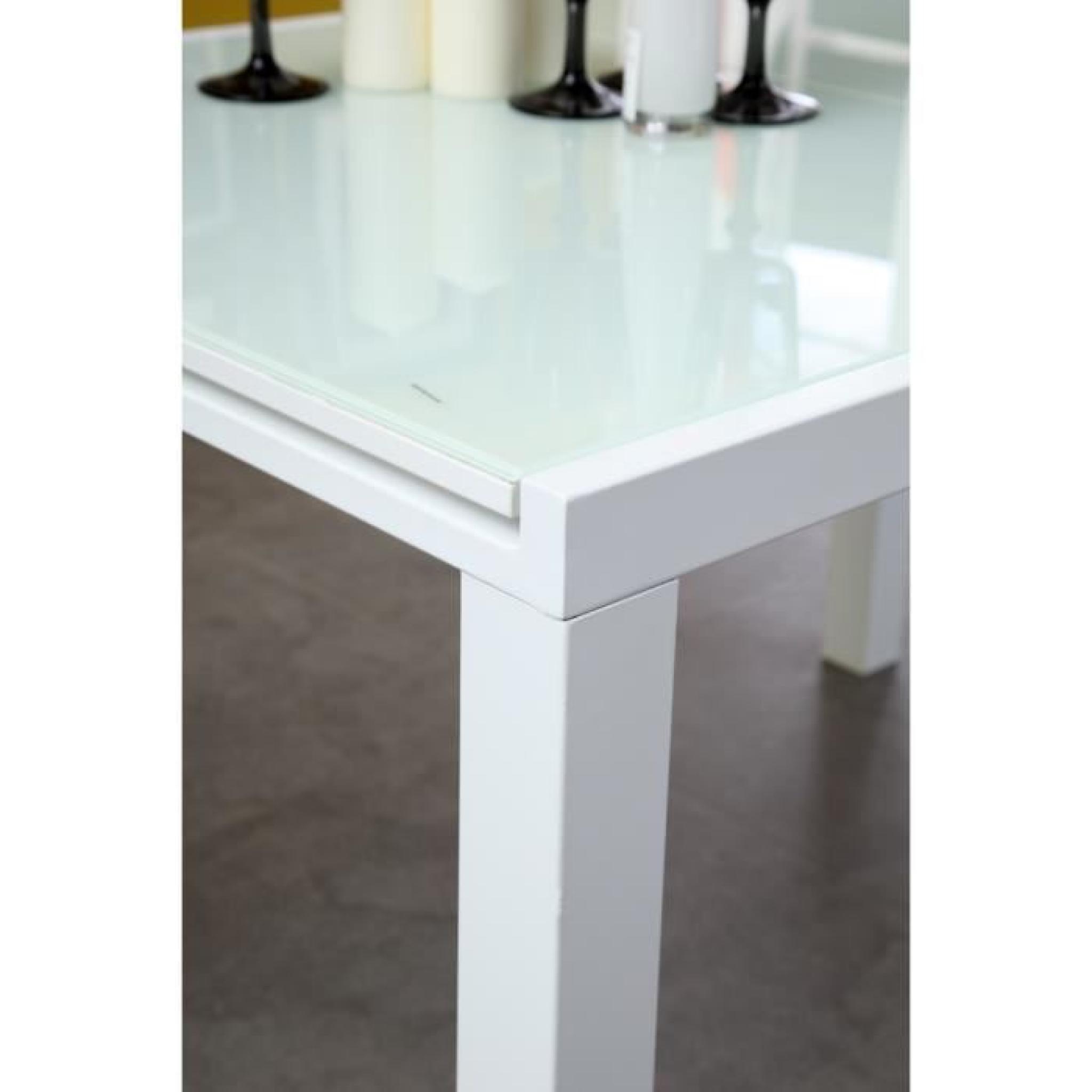 ROMA Table Extensible 120180cm Verre Blanc AchatVente
