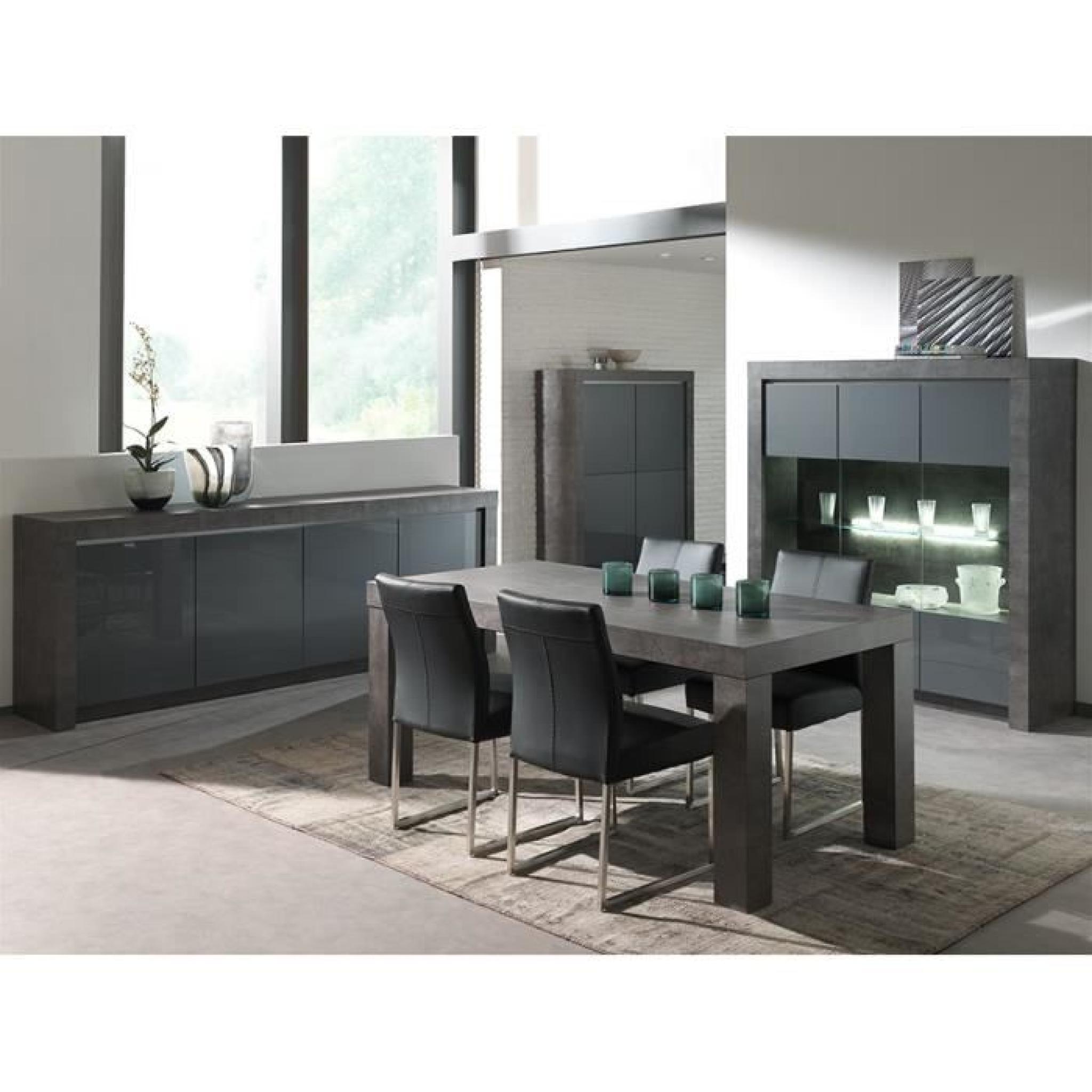 salle a manger complete gris laque moderne murilo bahut l 218 cm table l 215 cm achat vente ensemble salle a manger pas cher couleur et design fr