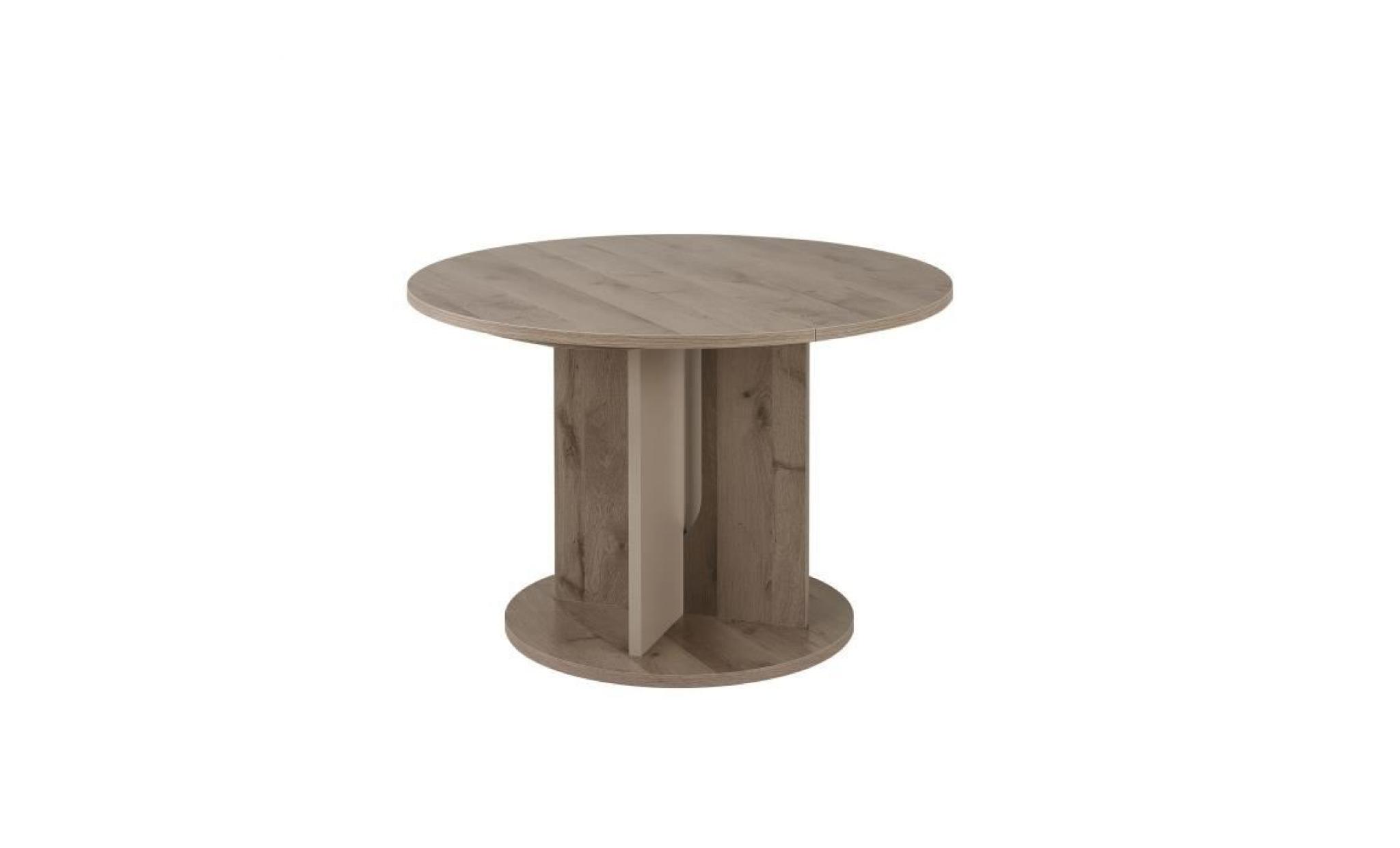 sha table ronde avec allonge decor chene cendre l 113 achat vente table salle a manger pas cher couleur et design fr