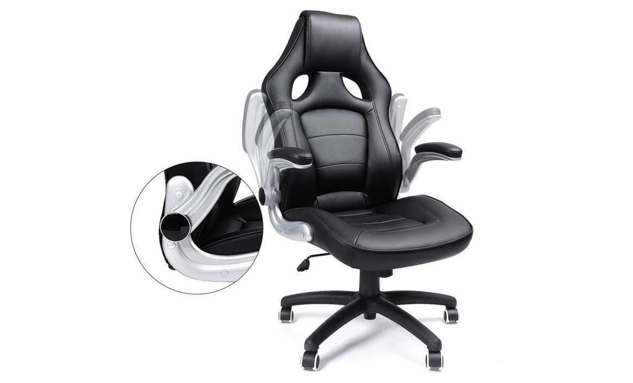 songmics chaise de bureau accotoir pliable fauteuil de bureau hauteur reglable pu siege de bureau obg51b achat vente fauteuil de bureau pas cher couleur et design fr