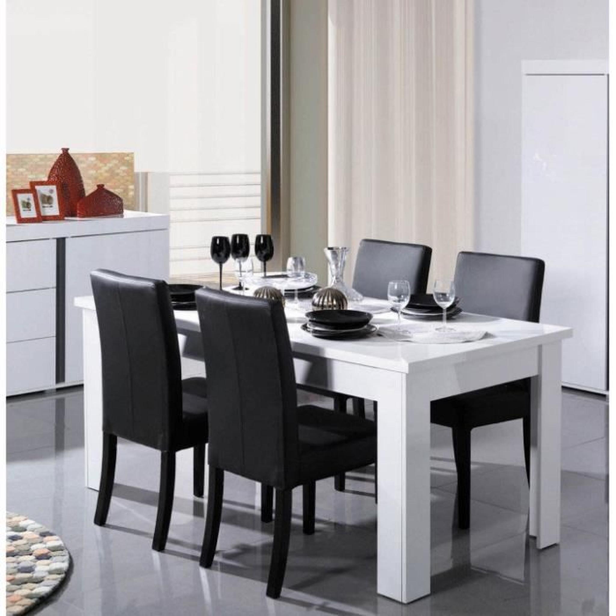 table a manger blanc laque design novella l 160 cm achat vente table salle a manger pas cher couleur et design fr