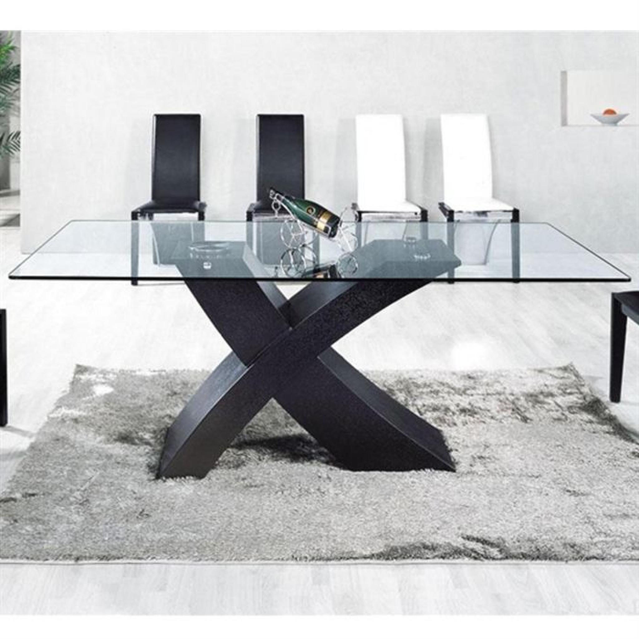 table en verre mix pied noir 150 x 90cm achat vente table salle a manger pas cher couleur et design fr