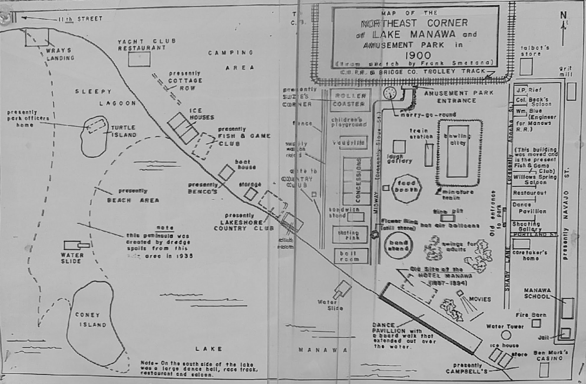Map Of Lake Manawa Amusement Park Council Bluffs Public