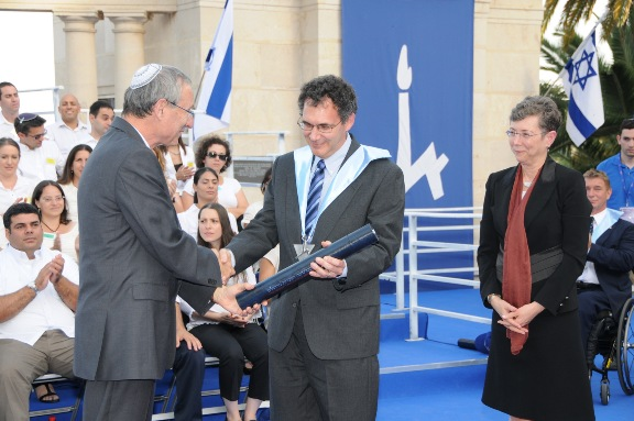 Edward Stolper honored by Israel's Hebrew University in 2012.
