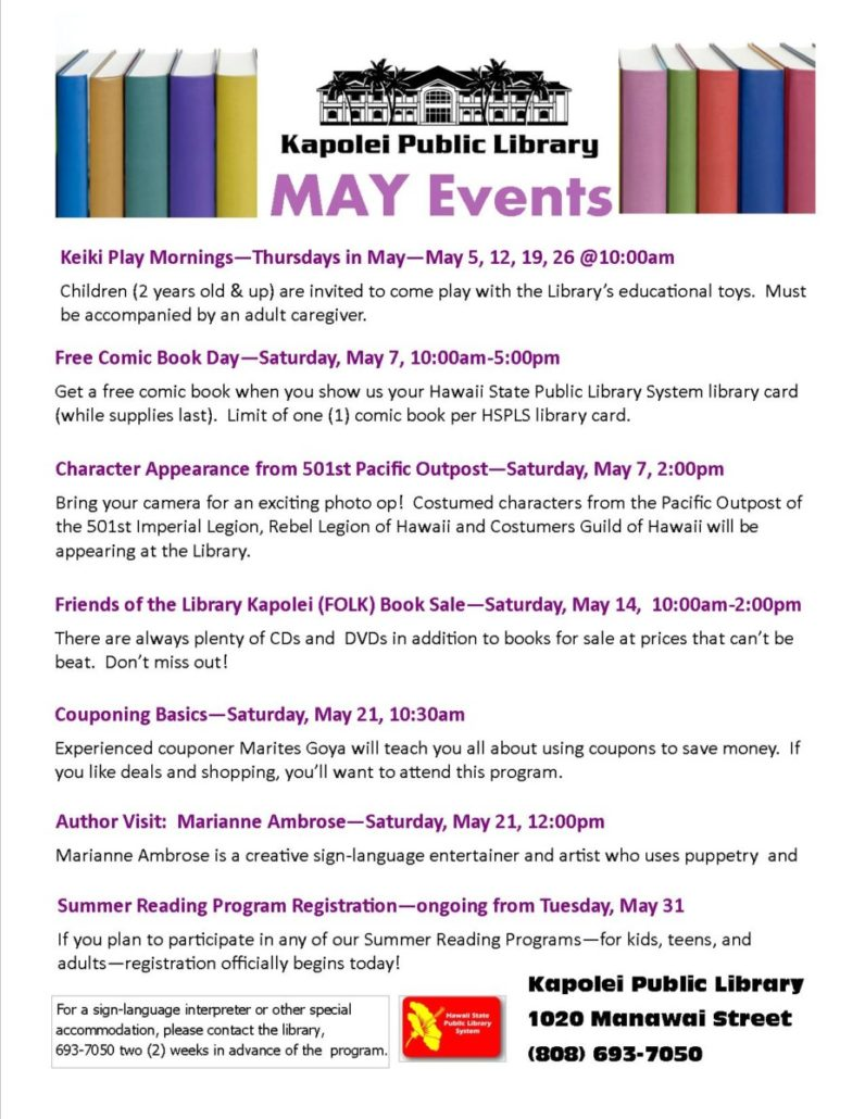 Kapolei Library events