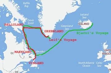 Iceland, Greenland, Helluland, Markland, Vinland