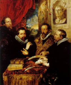 "Peter Paul Rubens, ""The Four Philosophers,"" with a bust of Seneca, 1611-1612"