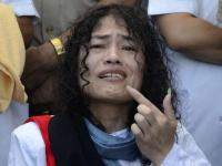 Irom Sharmila ends her 16-year fast by tasting honey, in Imphal on Tuesday. Photo: Ritu Raj Konwar/The Hindu