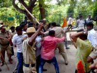 ABVP Activists Try To Storm Amnesty Office In Bangalore