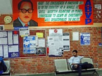 "This is the latest ABVP's poster put up on the wall of SIS building (new) of JNU with the portrait of Dr. Ambedkar. The poster qoutes him without mentioning the reference as saying that if Dalits convert to Islam or Christianity, it will ""denationalize them"". Photo: Samim Asgor Ali"