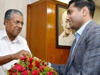 Kerala chief minister Pinarayi Vijayan greets Adani Ports CEO Karan Adani in Thiruvananthapuram