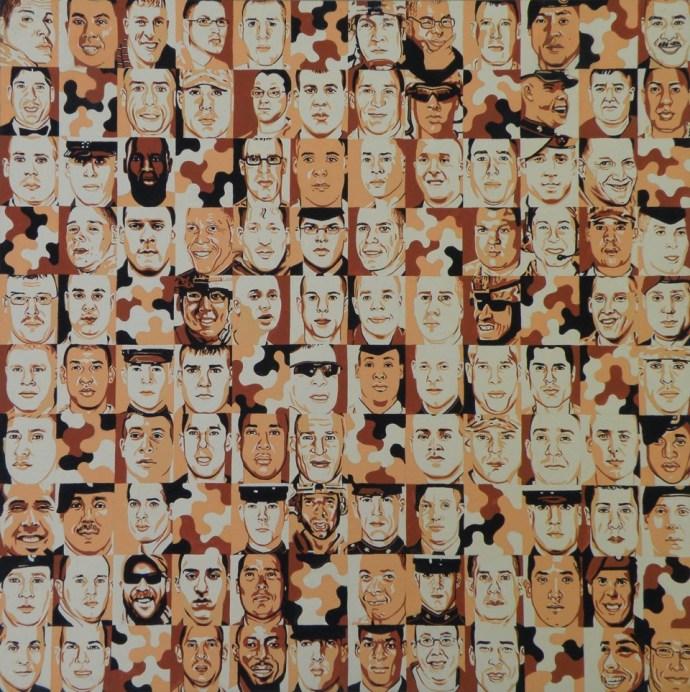Camouflage squares representing veteran suicides.