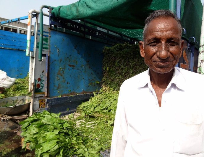 Chandrabhan Jhode with his spinach crop at the Nagpur APMC: a good monsoon had led to a good harvest this year and the farmers were hoping for decent returns after successive years of drought in many regions of the country