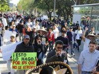 Protesters marching in Tijuana