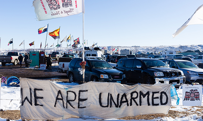 The encampments at Standing Rock worked to keep prayer and nonviolence at the center of their actions. Photo by Joe Zummo.