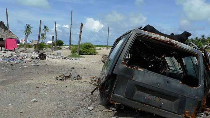 Stumps of palm trees - Kiribati