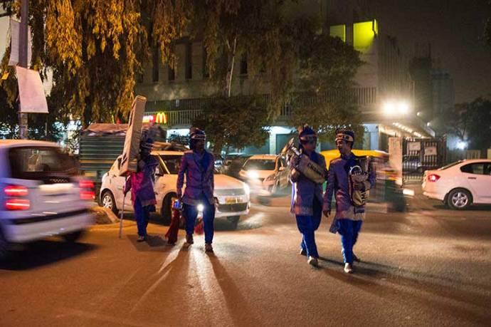 Band wallahs walk towards a wedding venue. Photo courtesy: Sadia Akhtar