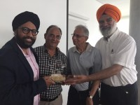 Amandeep Singh being honoured by Parshottam Dosanjh, Chinmoy Banerjee and Gian Singh Gill.