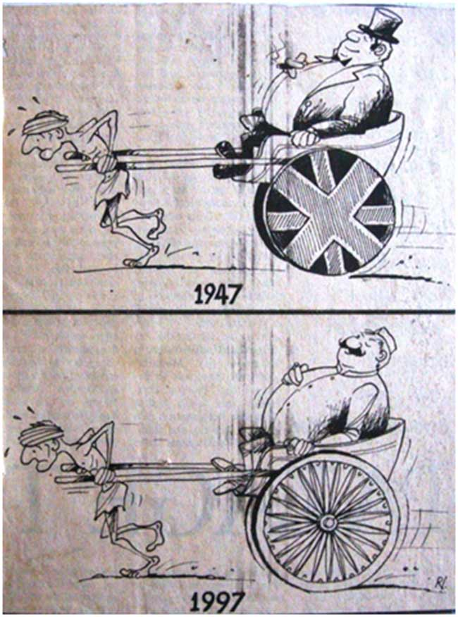 An over 12 year old cartoon that featured in the national media to mark 50 years of India's independence: the situation is as grim