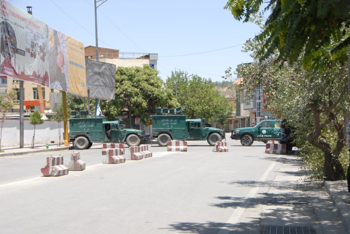 Steets of Kabul blocked after bombing.JPG