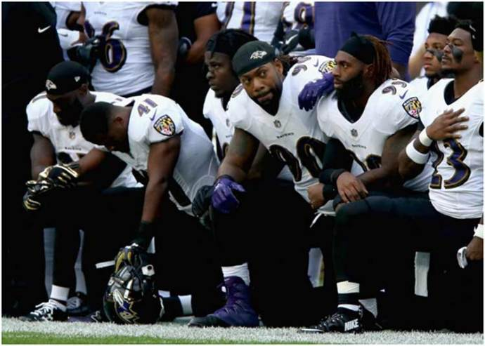 Baltimore Ravens 'Take a Knee' for the American National Anthem in London's Wembley Stadium