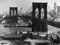 View of the Brooklyn Bridge looking toward Brooklyn.