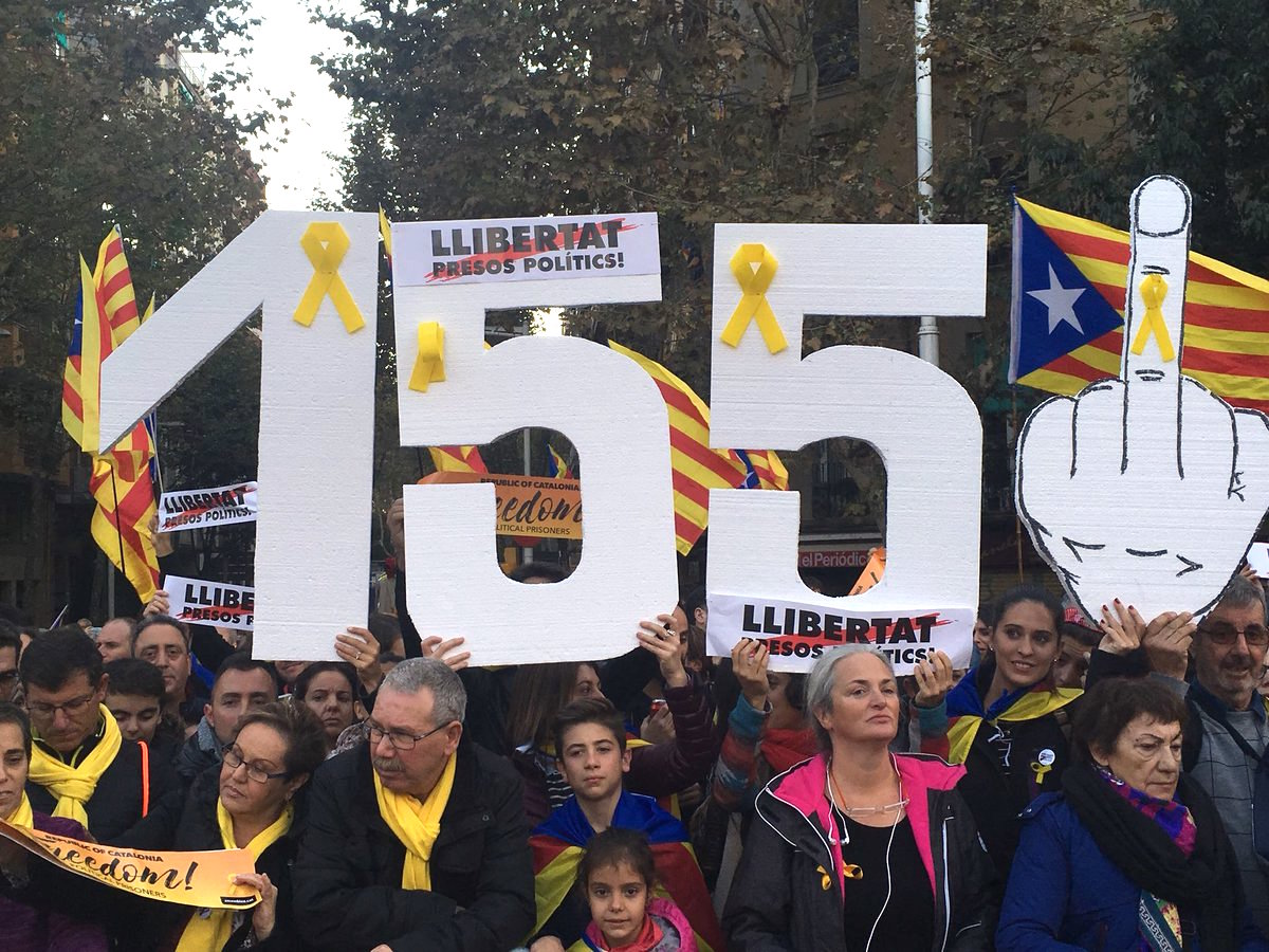"""Image result for """"Giant prop on Saturday's demo, referring to the 'direct-rule' article 155 of the Spanish constitution that the Madrid government is attempting to enforce."""