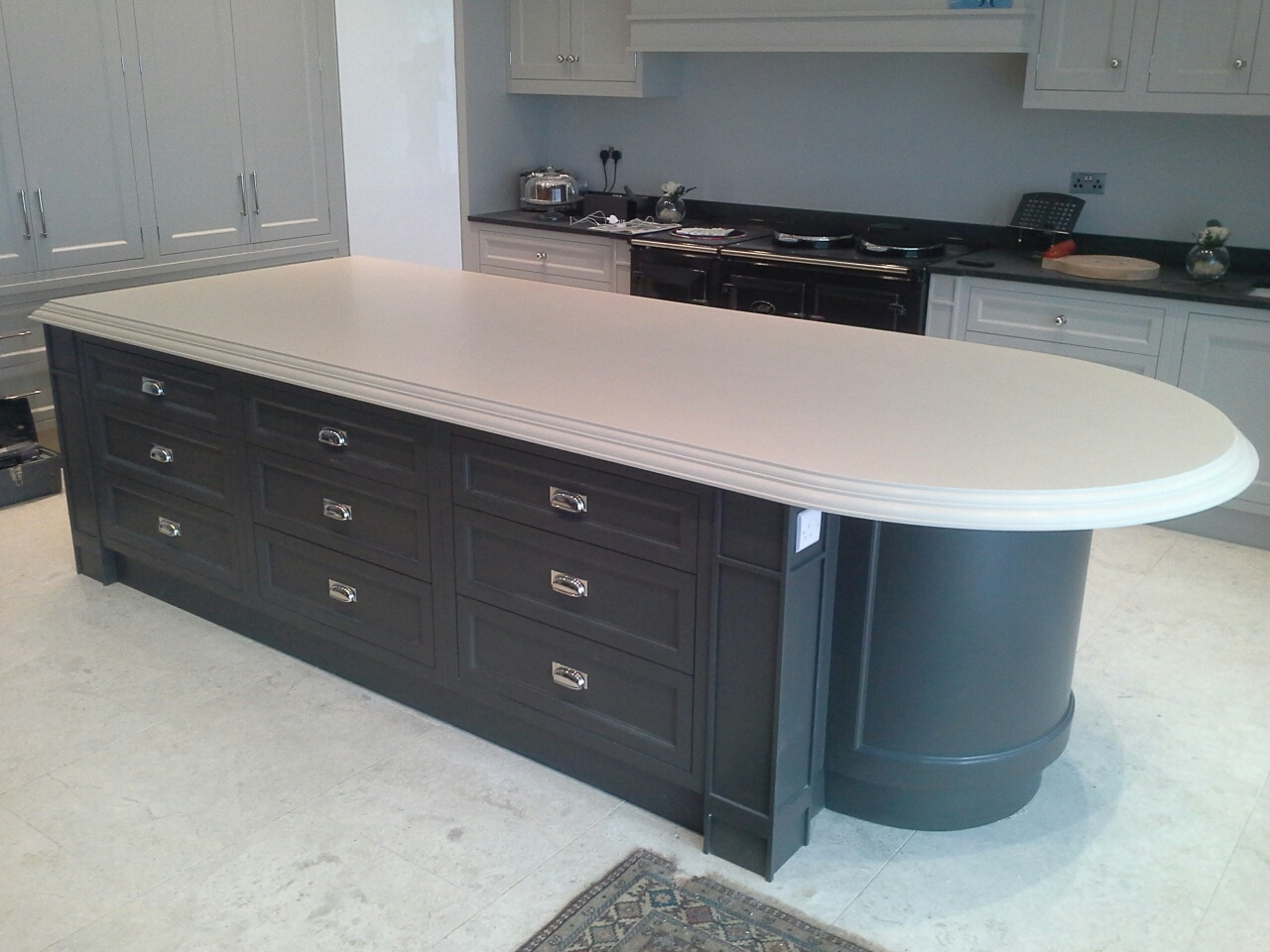 Hand Painted Corian Kitchen With Traditional Edge Profile Counter Production Ltd