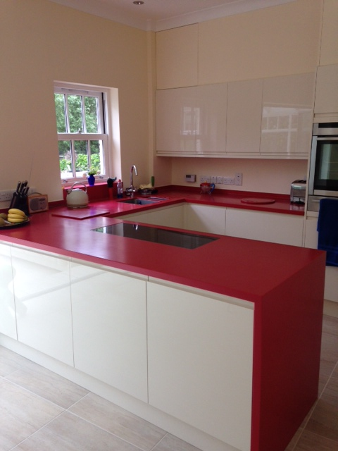 Royal Red Corian Kitchen  Counter Production Ltd