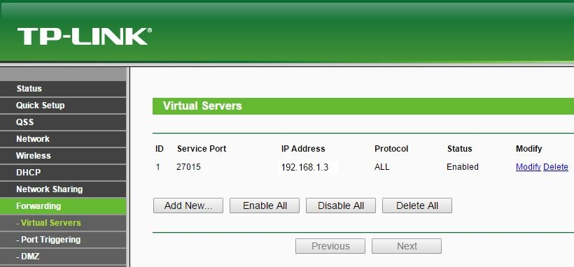 TP-Link Virtual Servers List