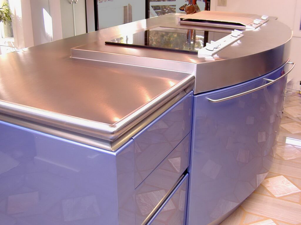 Countertop costs and options for kitchens and bathrooms for Stainless steel bathroom countertops