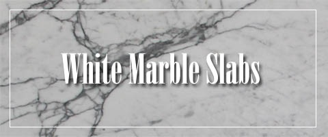 White Marble Slab Kitchen Countertops