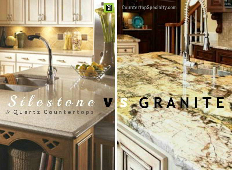granite kitchen countertops pictures kohler simplice faucet compare countertop materials silestone vs quartz corian comparison side by