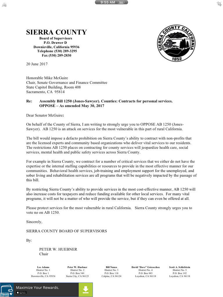AB 1250 Material And Letters Of Opposition California State