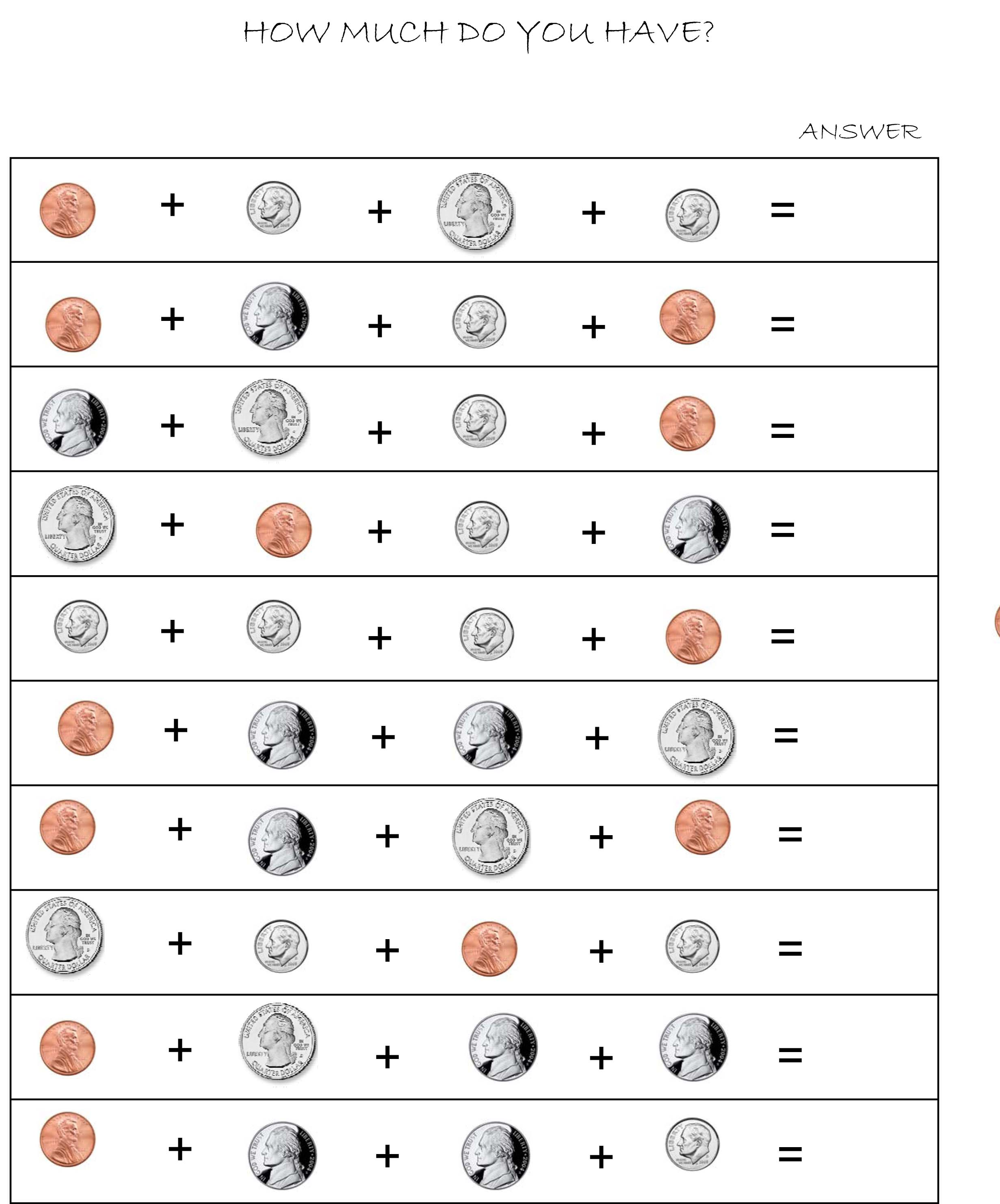 Adding Coins Worksheet First Grade